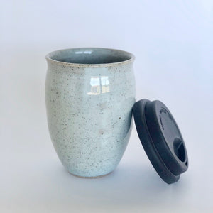 Ceramic Reusable Takeaway Cup or Mug in light blue speckled finish