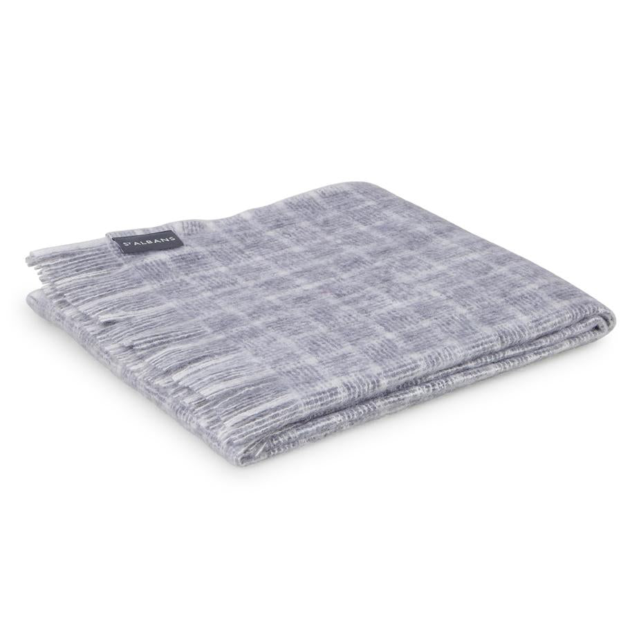 St Albans Mohair Throw in Cobweb.  This luxurious throw features graduated block checks in deep grey through to light neutrals.