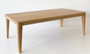 Australian Made Coffee Table in Solid American Oak Timber.  Made in Melbourne, the Grace Coffee Table features subtle rounded edges contrasting with clean, straight lines and gently tapering legs.