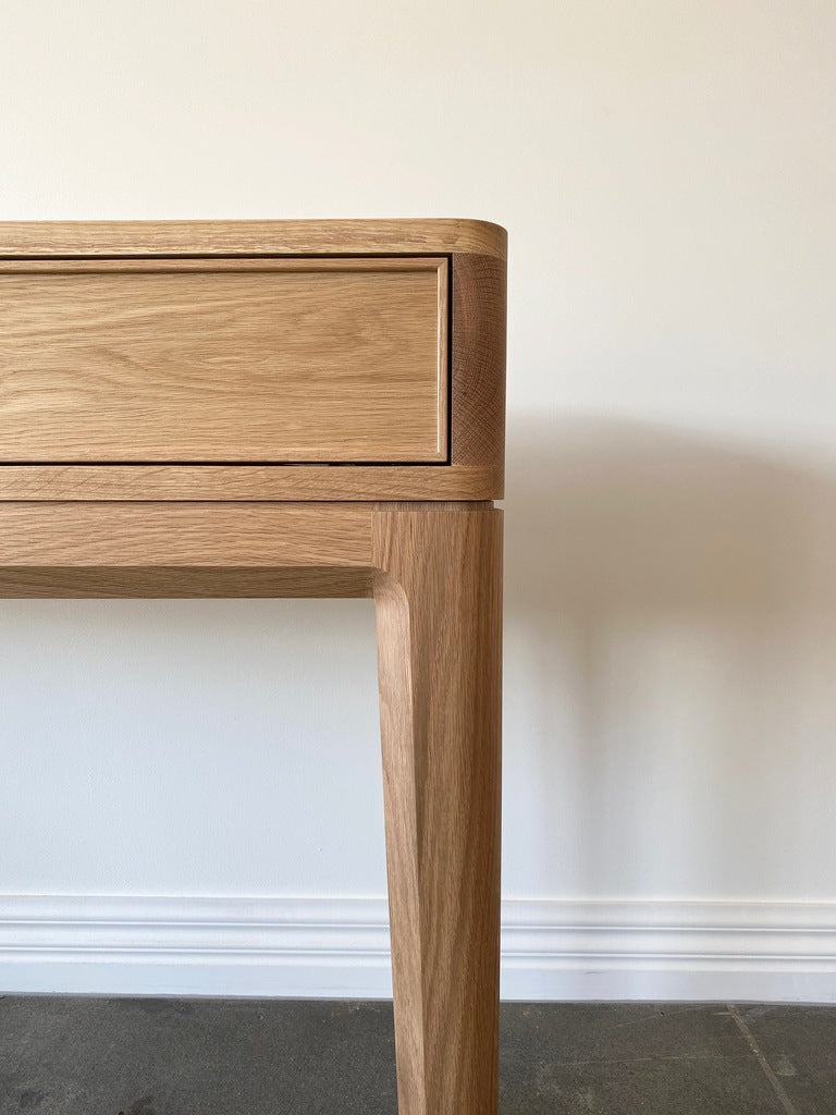 Australian Made Entrance Table or Console made in solid American Oak.  Features traditional dovetail drawers and joinery, classic furniture made in Melbourne.