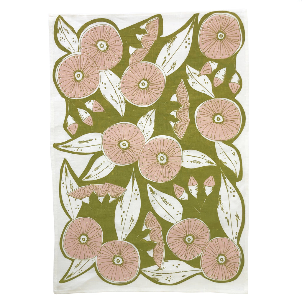 Natural Linen tea towel with gumnut pattern in green and pink, hand screen printed in Melbourne