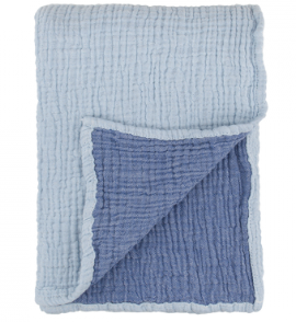 Contrasting blue shades on the two toned Crinkle Swaddle made from superfine Turkish Cotton.