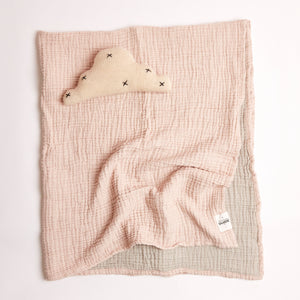 Two tone crinkle baby swaddle in pink and ecru colour in superfine Turkish cotton.