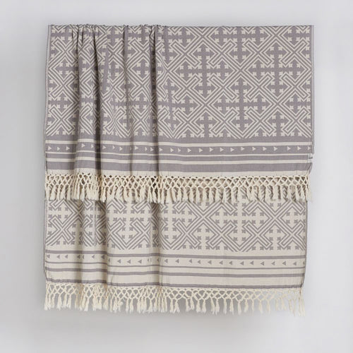 Square Jakar Throw in Grey and Natural