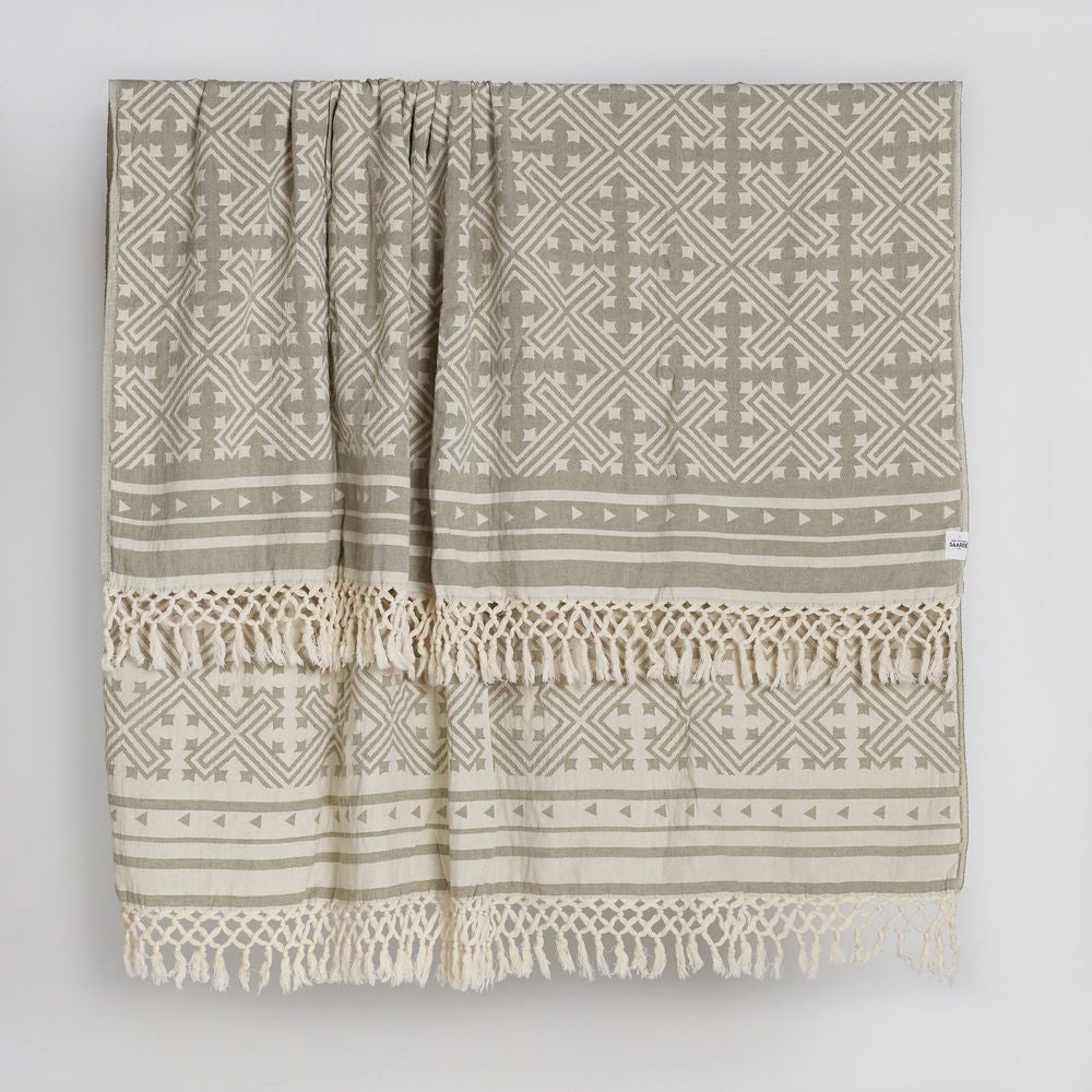 Square Jakar Throw in Olive and Natural