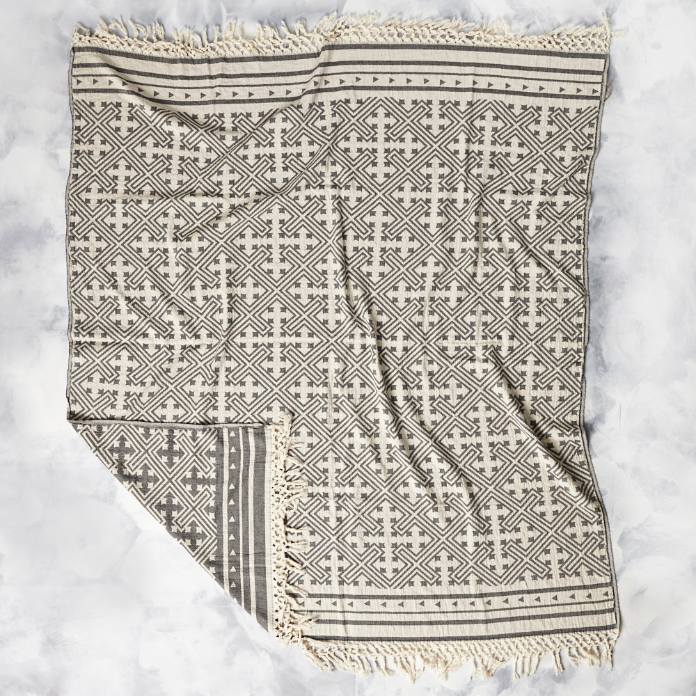 Traditional Jacquard Throw with a geometric pattern and fringed edge detail in a beautiful soft black and cream tone.
