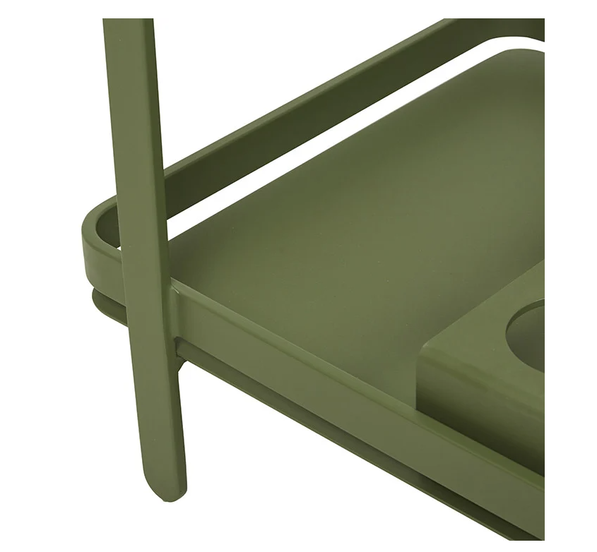 Bar trolley in green khaki colour suitable for indoor or outdoor use, handy drink holder and sturdy frame.  Teak handle with powder coated aluminium frame and rubber edged wheels