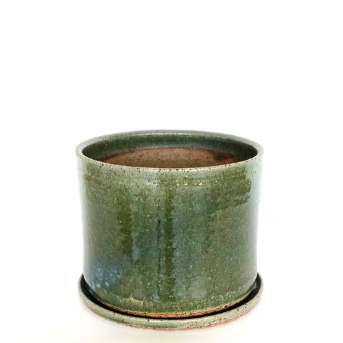 Large Stoneware Planter in Moss Green