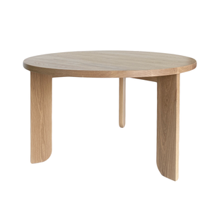 Open image in slideshow, Australian Made Timber Furniture, the Lunar Round Dining Table in Solid American Oak. Made in Melbourne, the Lunar Round Dining Table features soft curves and half arch details to create lightness at the base of the leg. Custom sizes available.