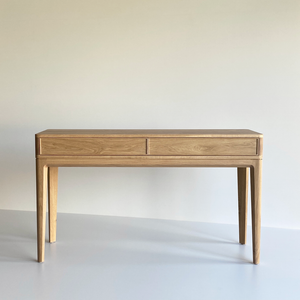 Australian Made Entrance Table or Console made in solid American Oak. Features traditional dovetail drawers and joinery, classic timber furniture made in Melbourne.