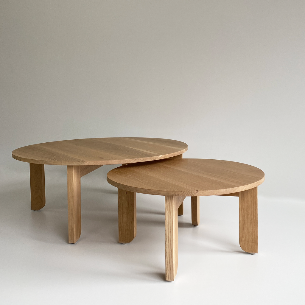 Australian Made Round Coffee Table in Solid American Oak Timber. Made in Melbourne, the Lunar Round Nesting Coffee Tables feature soft curves and half arch details to create lightness at the base of the leg. Custom sizes available.