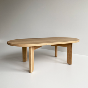 Australian Made Timber Furniture, the Pill Shaped Coffee Table in Solid American Oak. Made in Melbourne, the Lunar Pill Coffee Table features soft curves and half arch details to create lightness at the base of the leg. Custom sizes available.