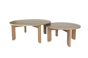 Open image in slideshow, Australian Made Round Coffee Table in Solid American Oak Timber. Made in Melbourne, the Lunar Round Nesting Coffee Tables feature soft curves and half arch details to create lightness at the base of the leg. Custom sizes available.