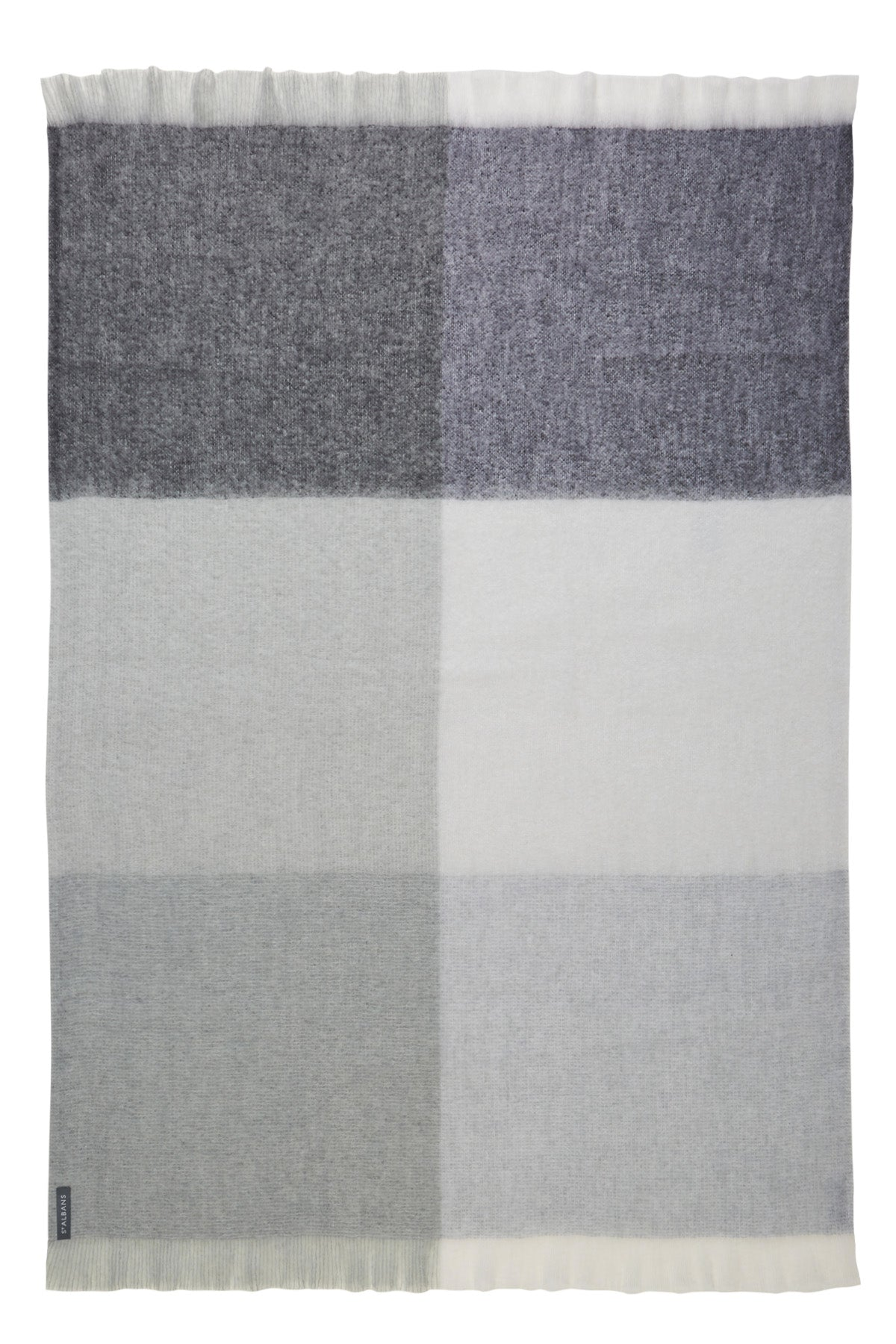 St Albans Mohair in Ghost is a combination of grey and neutral block checks in a contemporary pattern.