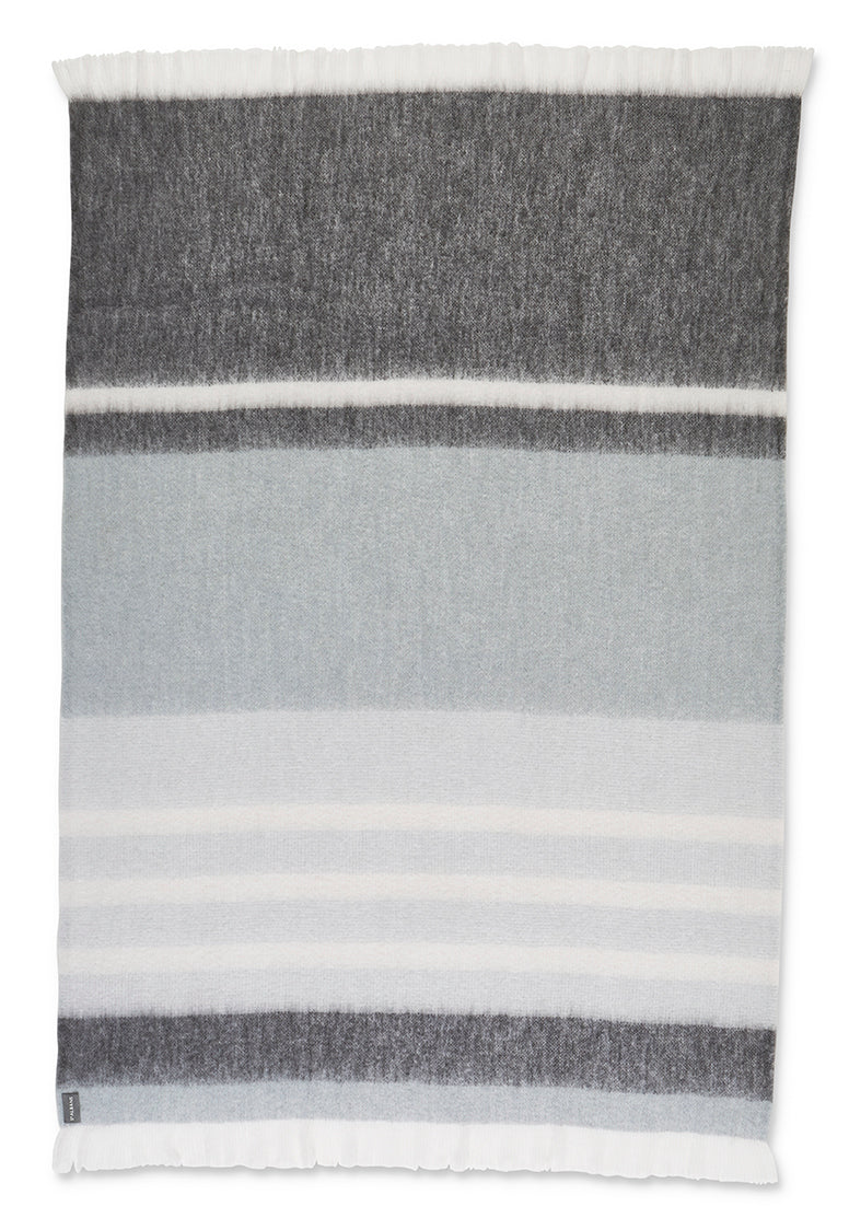 St Albans Mohair Throw in a classic design and contemporary colours combine to make the 'Hudson' throw a lasting style with striking bands ranging from deep grey to light neutrals.
