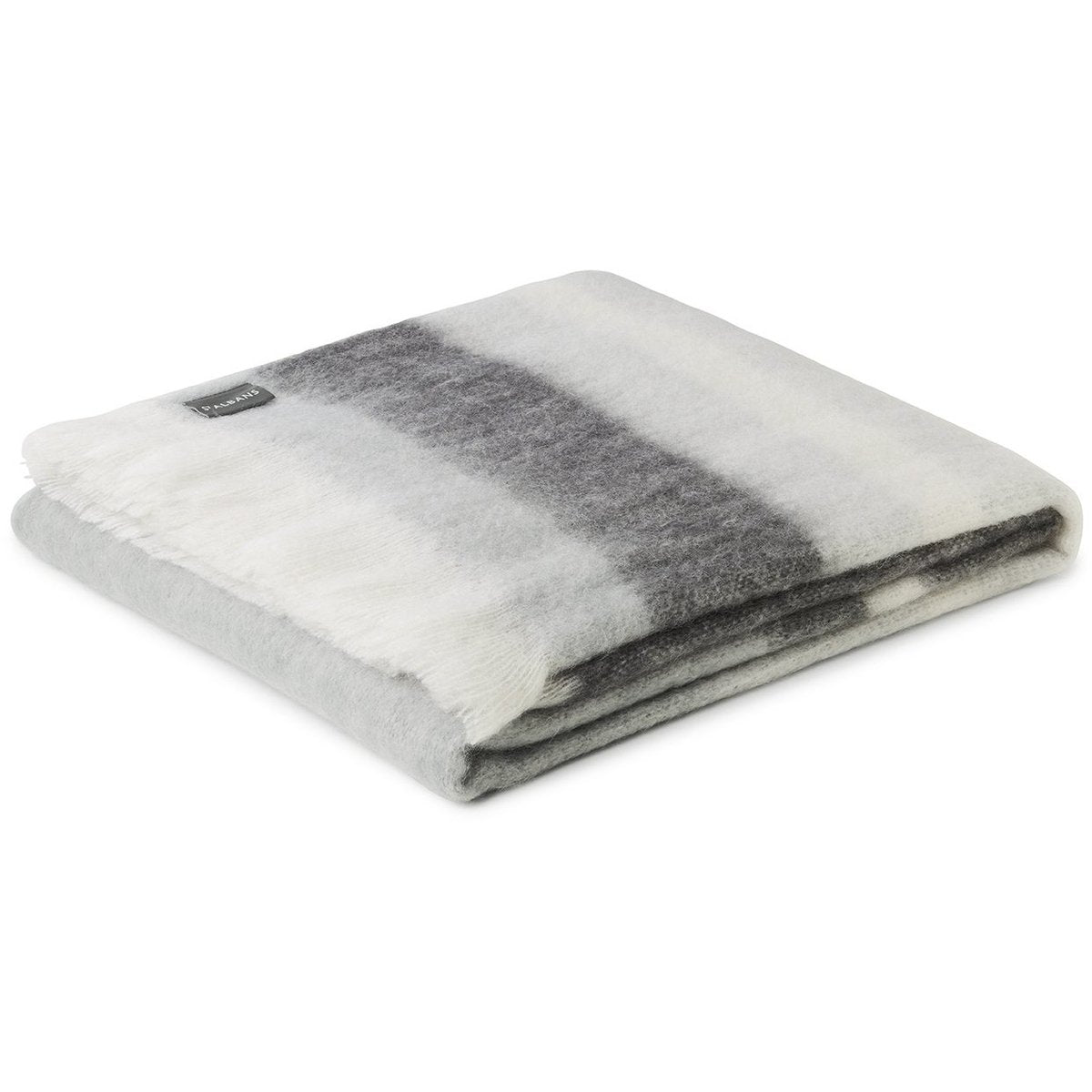St Albans Mohair Hudson Throw is a contemporary design with stripes of light and dark greys with neutral undertones.