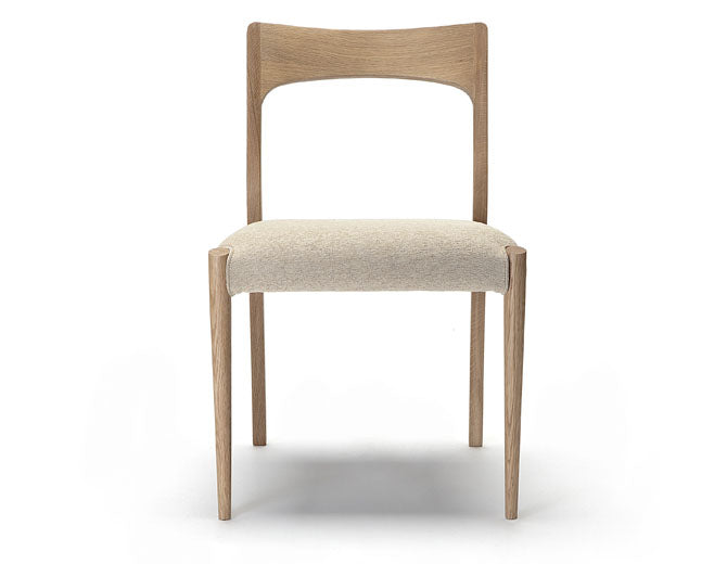 American Oak Dining Chair with upholstered seat Australia - Curved backrest and seat in an original design.