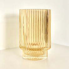 Load image into Gallery viewer, Amber Fluted Glass Tealight/Vase Vessel