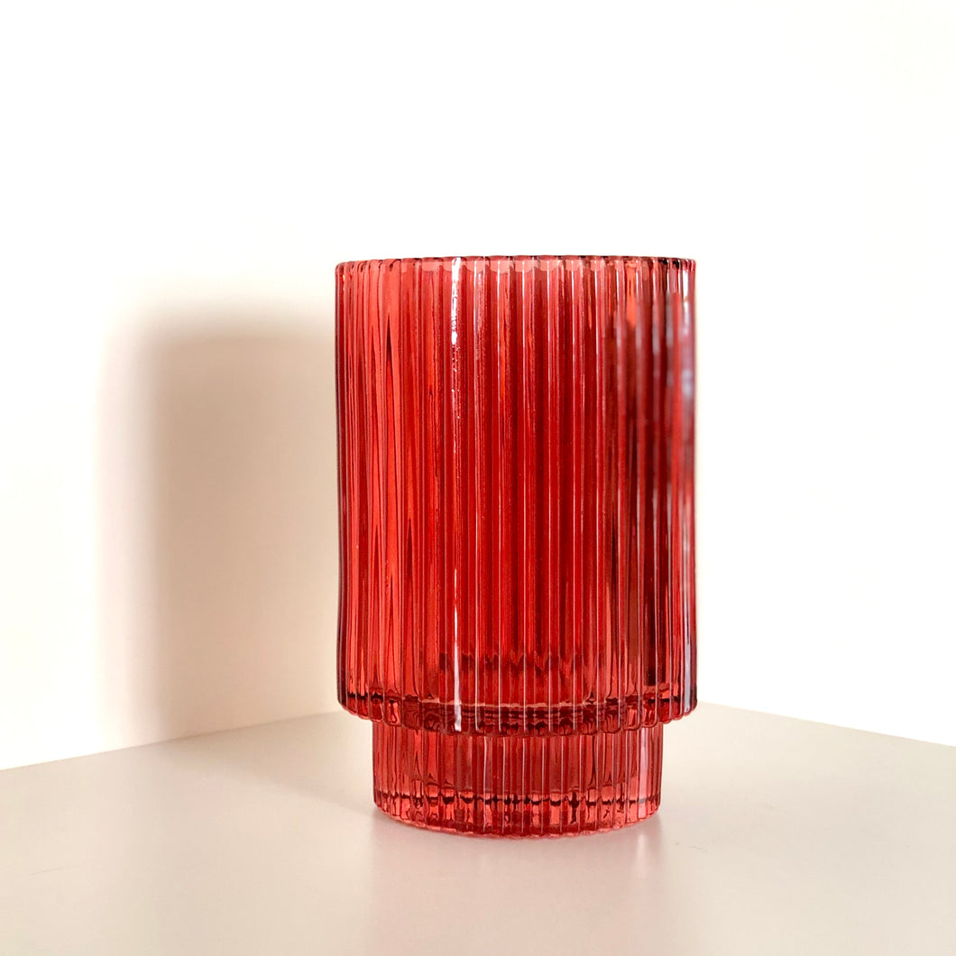 Ruby Fluted Glass Tealight Candle Holder/Vessel
