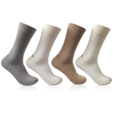 Men's Cotton Odour Free Multicolored Plain Full Length Socks- Pack of 4