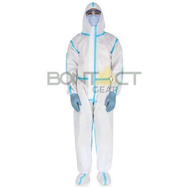 Disposable Protective Full Body Coverall Gown Suit with Foot Cover for Industrial and Medical Use with Tape