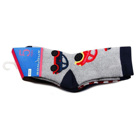 Kids Multi-designed Cushioned Fancy Sports Socks- Pack of 5