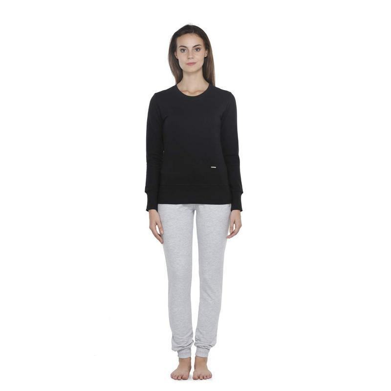 Womens Plain Sweatshirt-Black