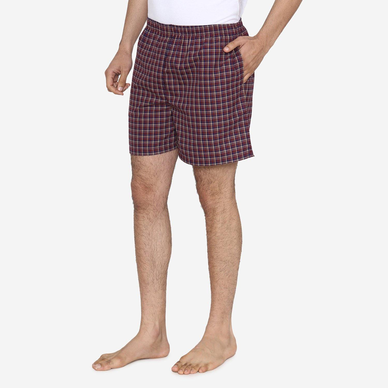 Men Classic Check -Prints woven Boxer Shorts - Brown