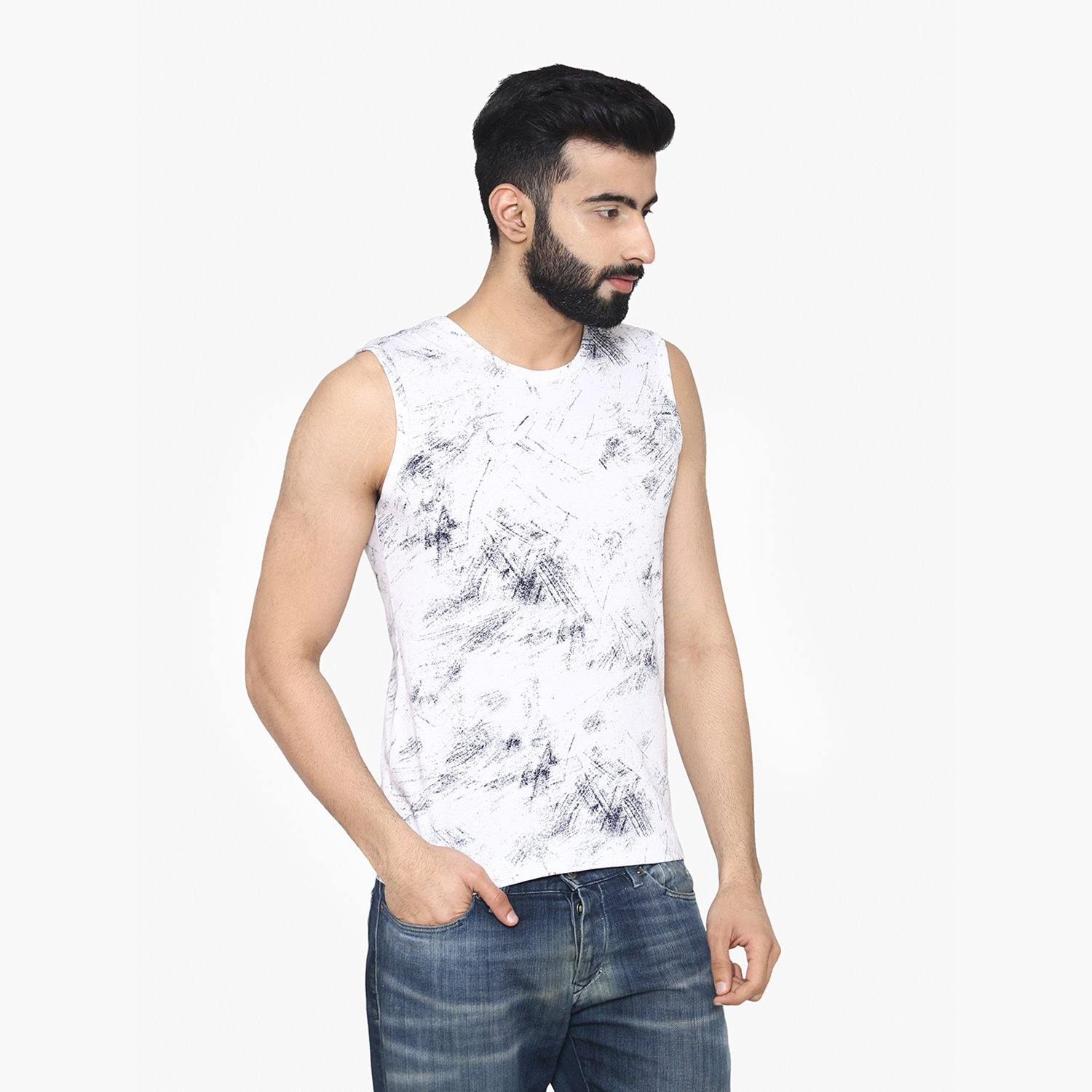Men's Sleeveless  Casual Round - Neck Printed  T-Shirt