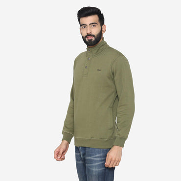 Men's Winter Wear Stylish Sweatshirt - Olive