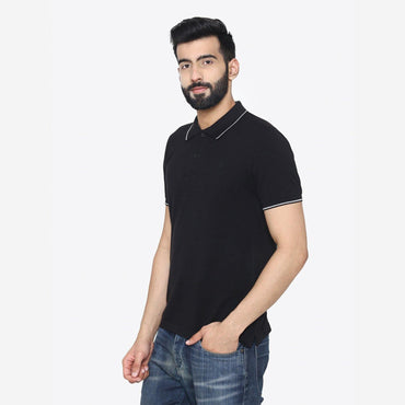 Men's  Stylish  Polo- Neck T- Shirt For Summer - Black