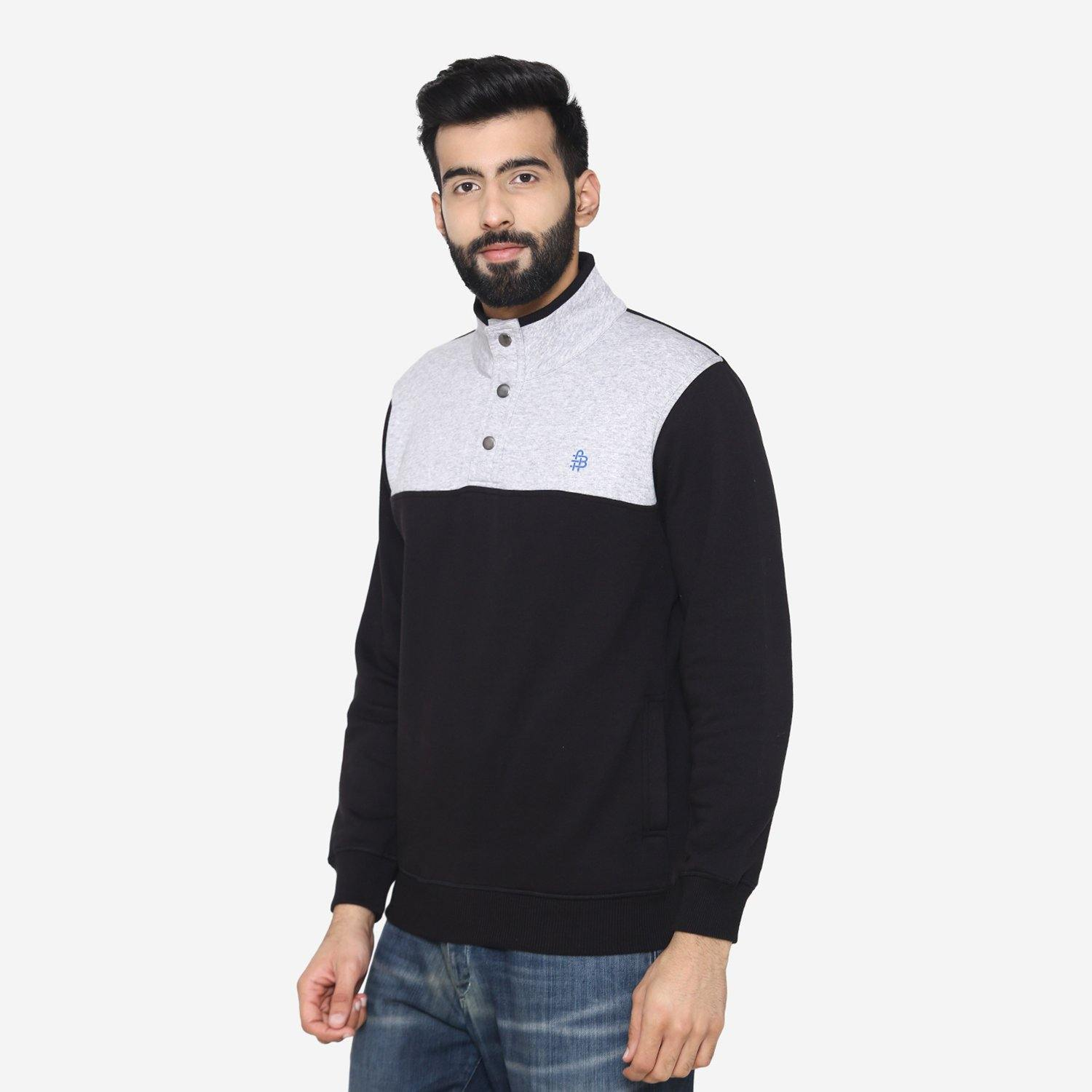 Men's winter bi-color  sweatshirt -Black / Light Grey