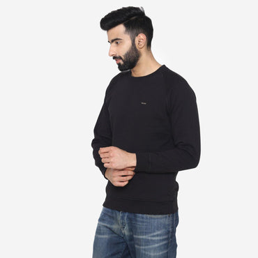 Men's Round-Neck Winter Sweatshirt - Black