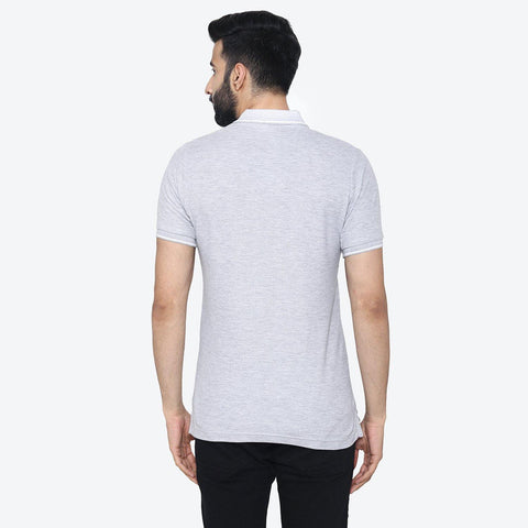 Men's  Polo - Neck Half Sleeve Casual T-Shirt - Light Grey