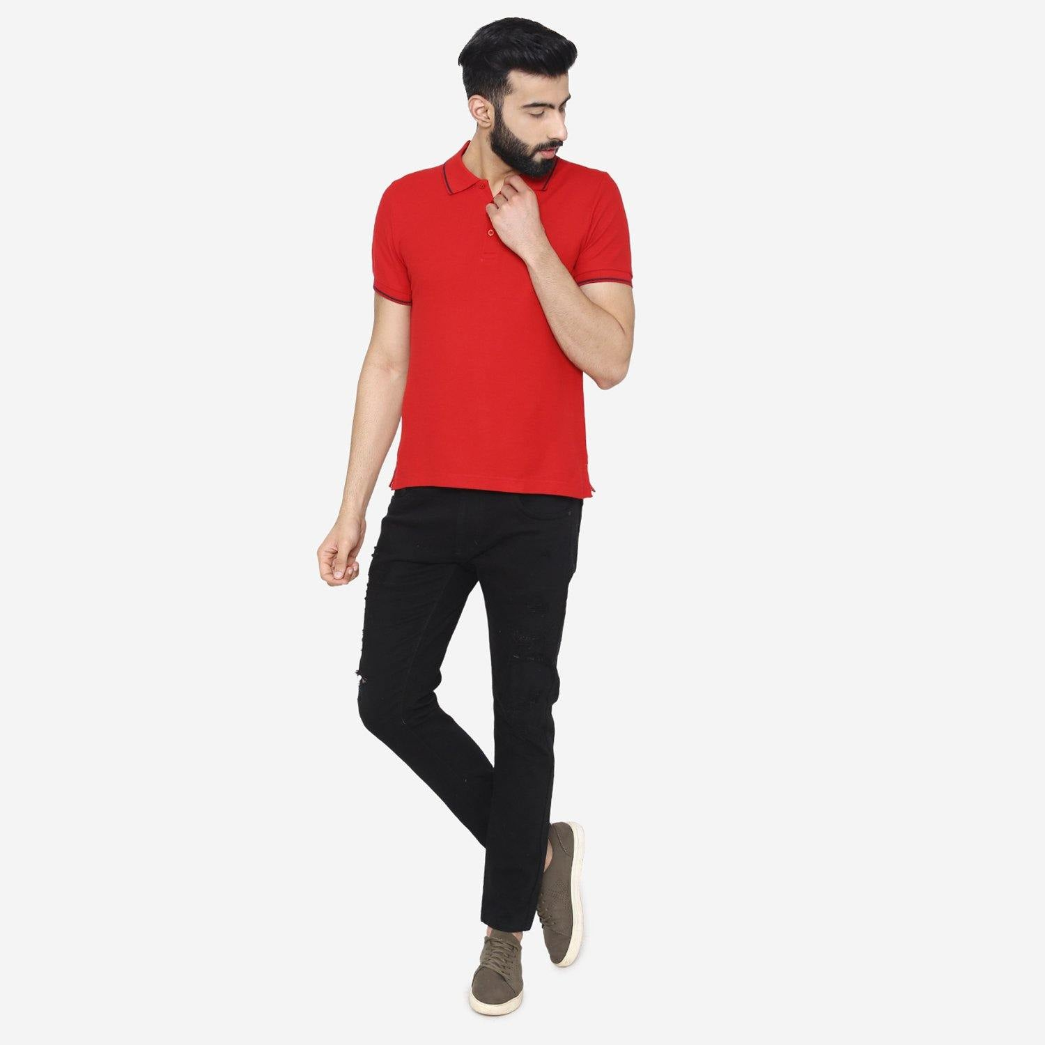 Men's  Polo - Neck Half Sleeve Casual T-Shirt - Red