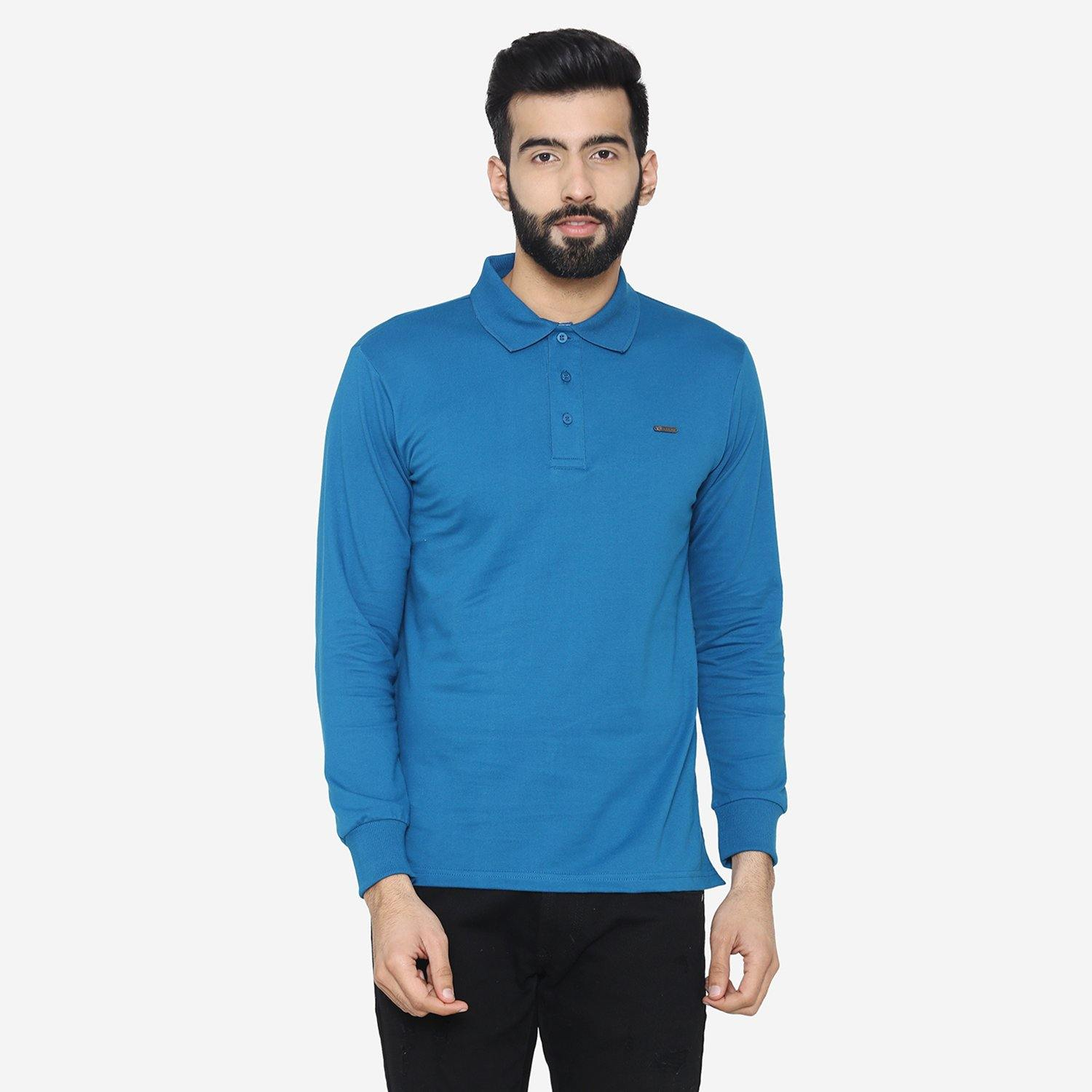 Men's Stylish Polo-Neck Sweatshirt - Blue