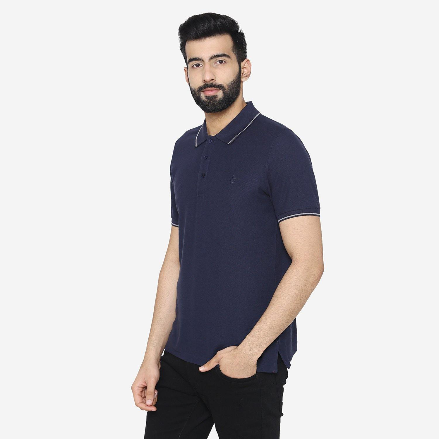 Men's  Stylish  Polo - Neck T - Shirt For Summer - Navy