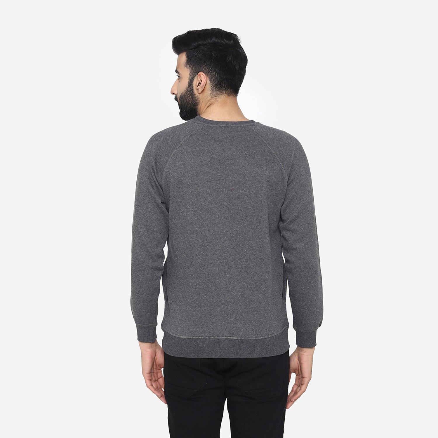 Men's Winter Round  Neck Sweatshirt- Anthra