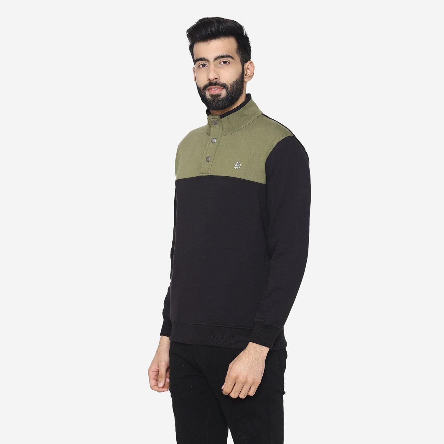 Men's winter Bi-Color  sweatshirt - Black / Olive