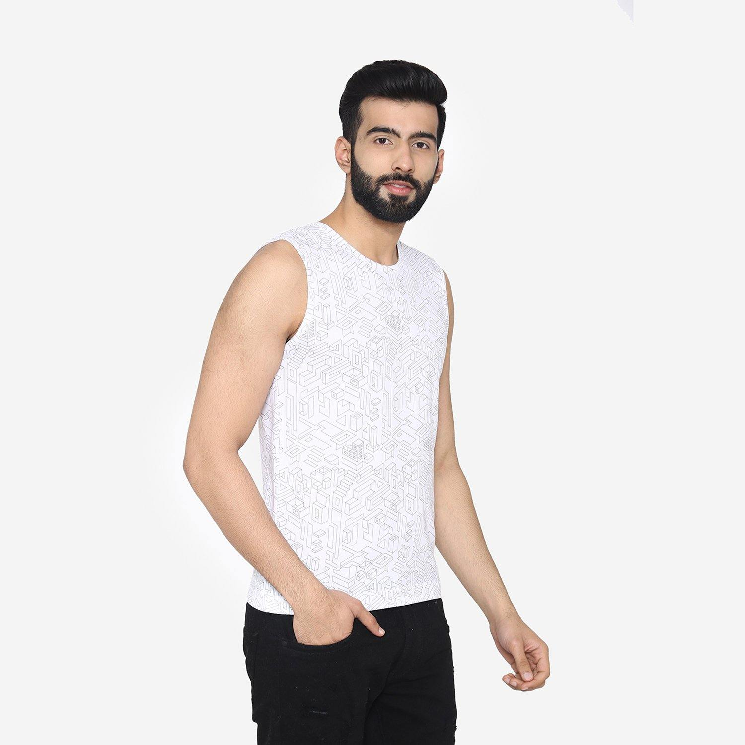 Men's Sleeveless Abstract Prints Casual Round - Neck T-Shirt