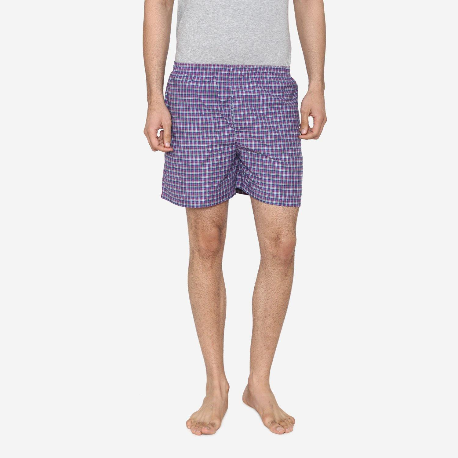 Men Classic Check - Prints woven Boxer Shorts - Dark Pink
