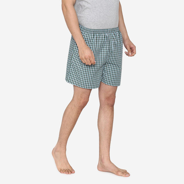 Men Classic Check - Prints woven Boxer Shorts - Green