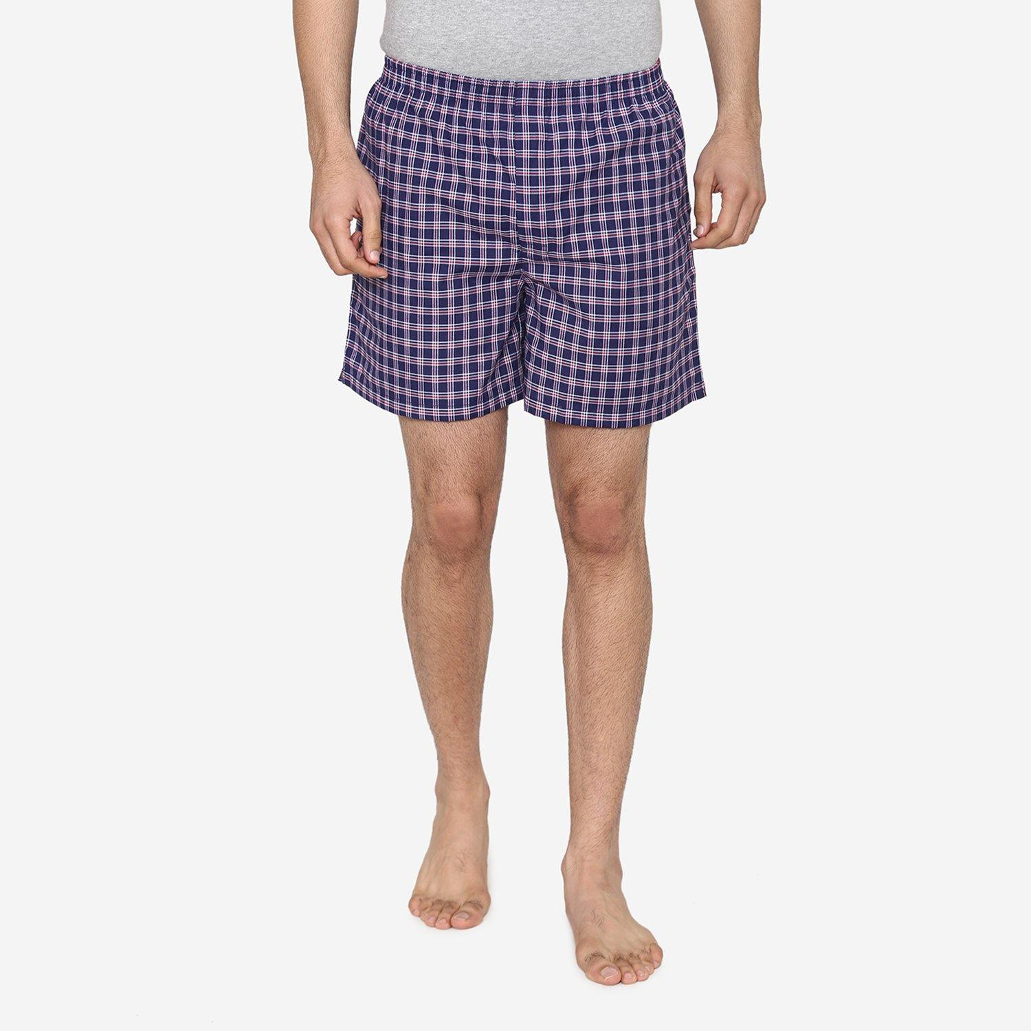 Men Classic Check -Prints Woven Boxer Shorts - Navy - Bonjour Group