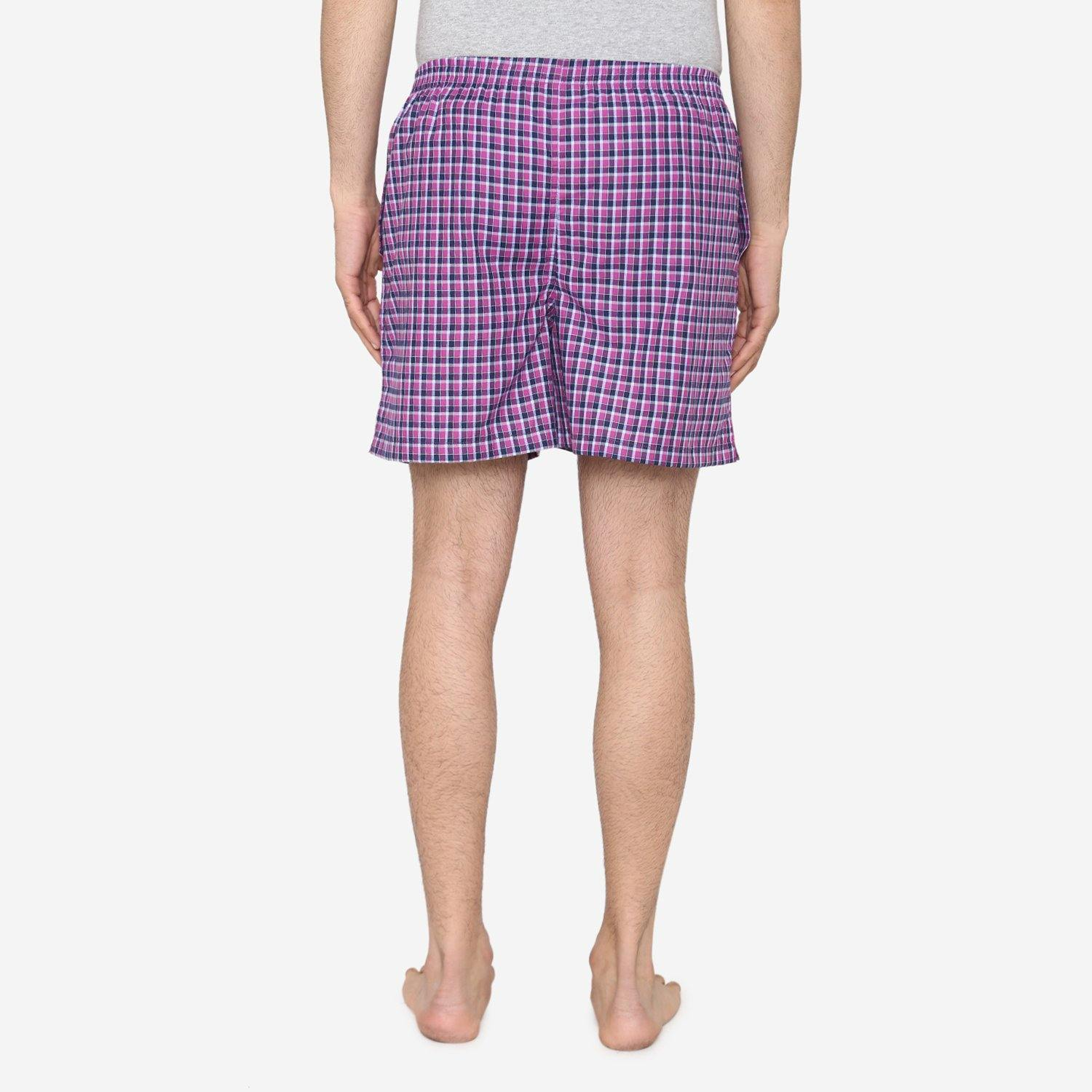 Men Classic Check - Prints Woven Boxer Shorts - Pink