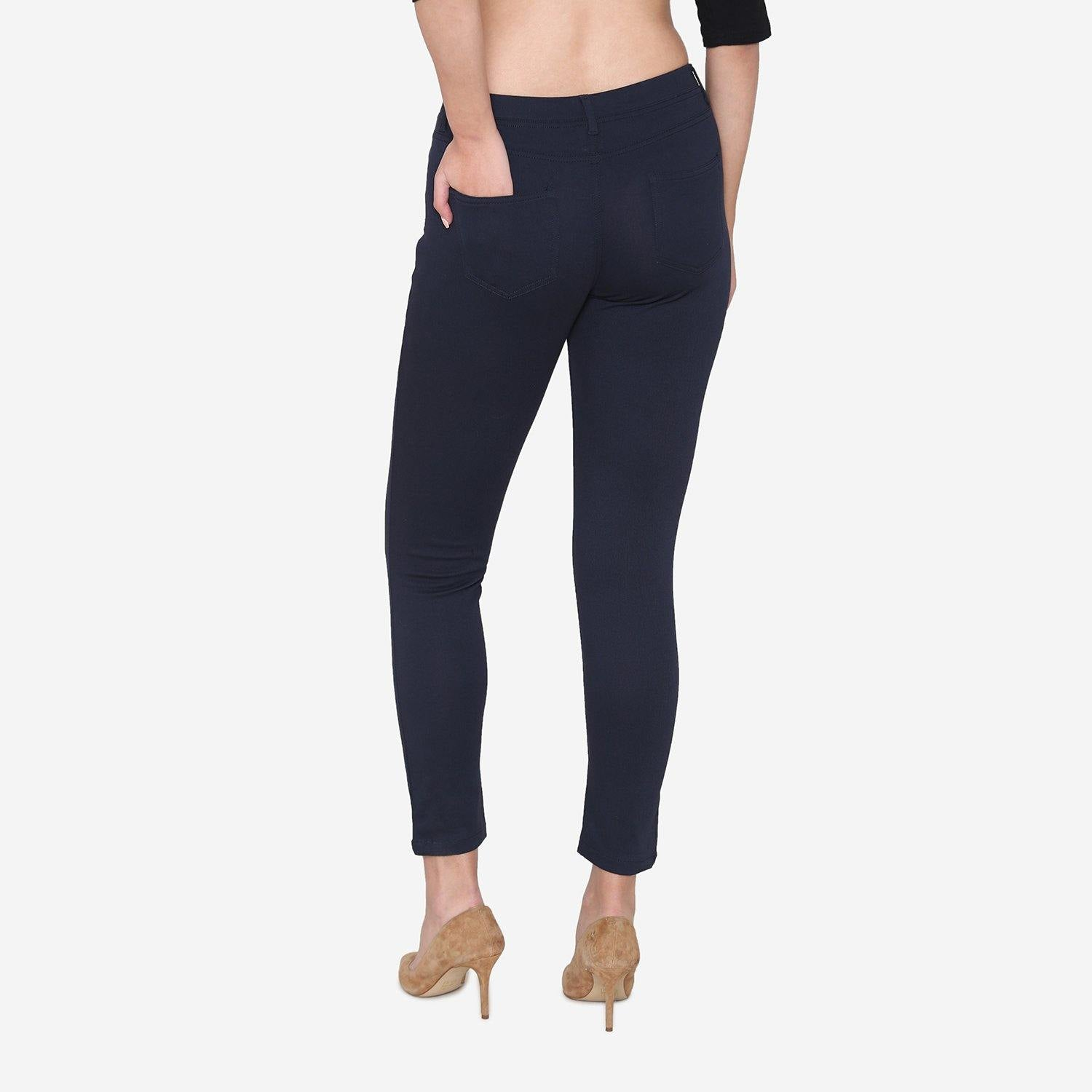 Vami Women's  Cotton Stretchable Jeggings - Navy