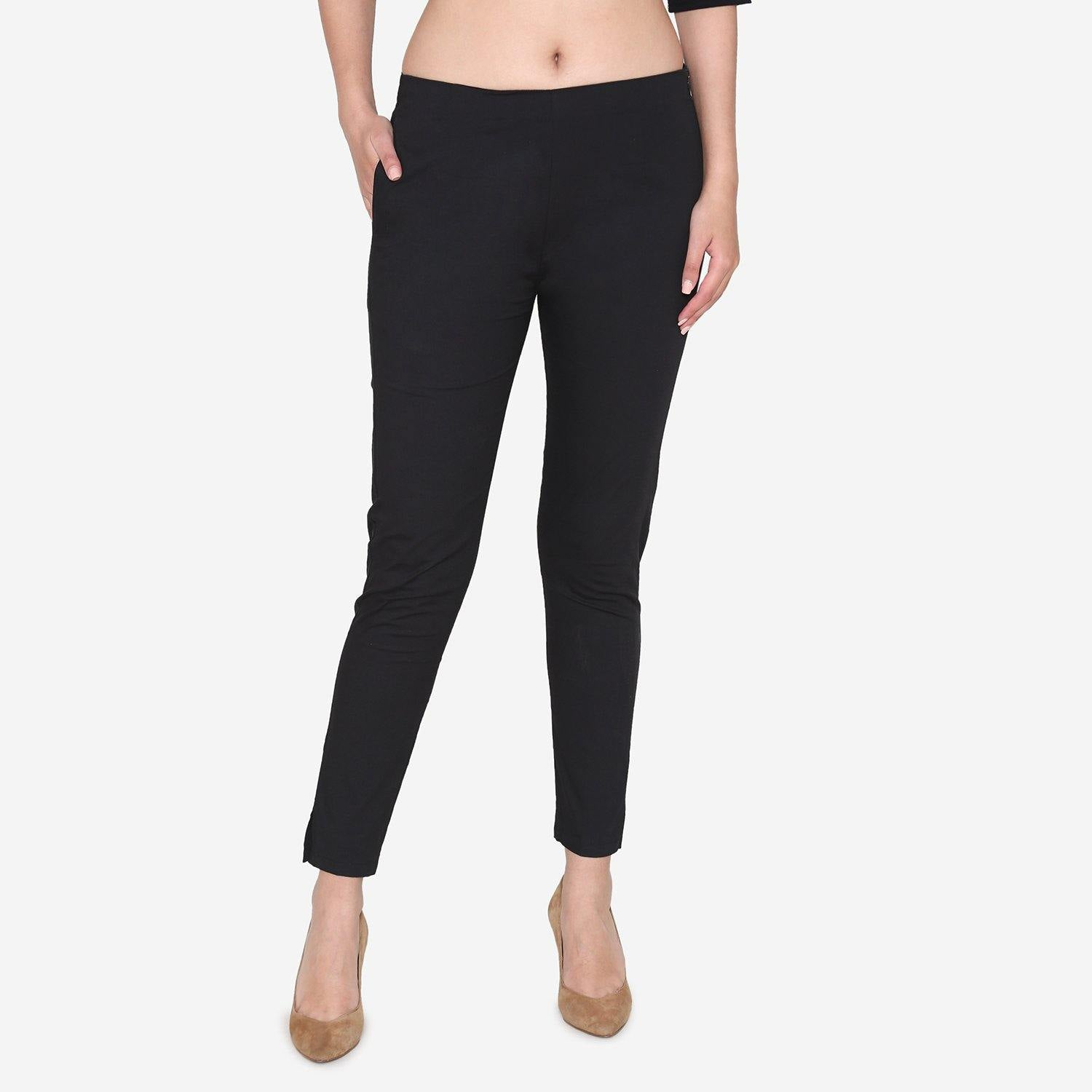 Vami Women's Cotton Formal Trousers - Black