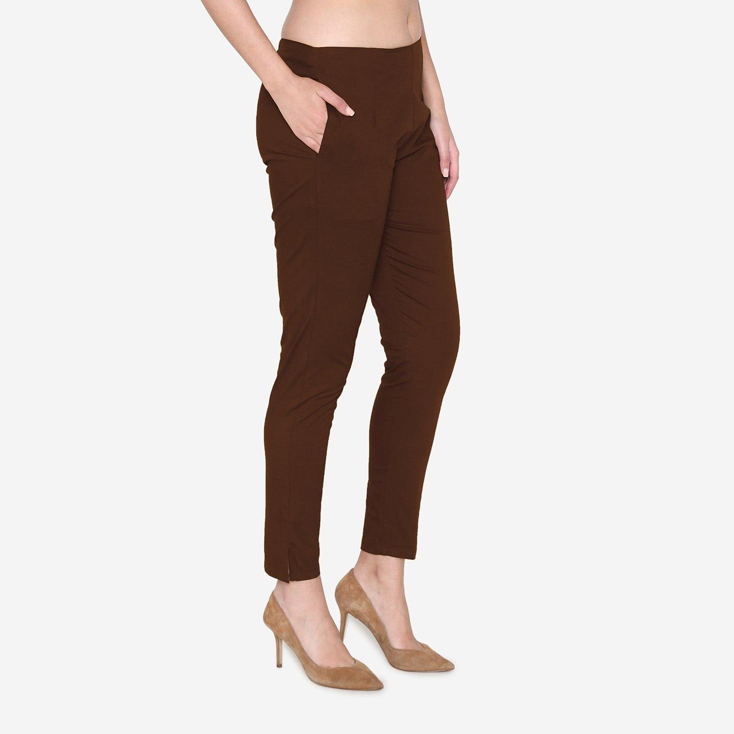 Vami Women's Cotton Formal Trousers - Brown