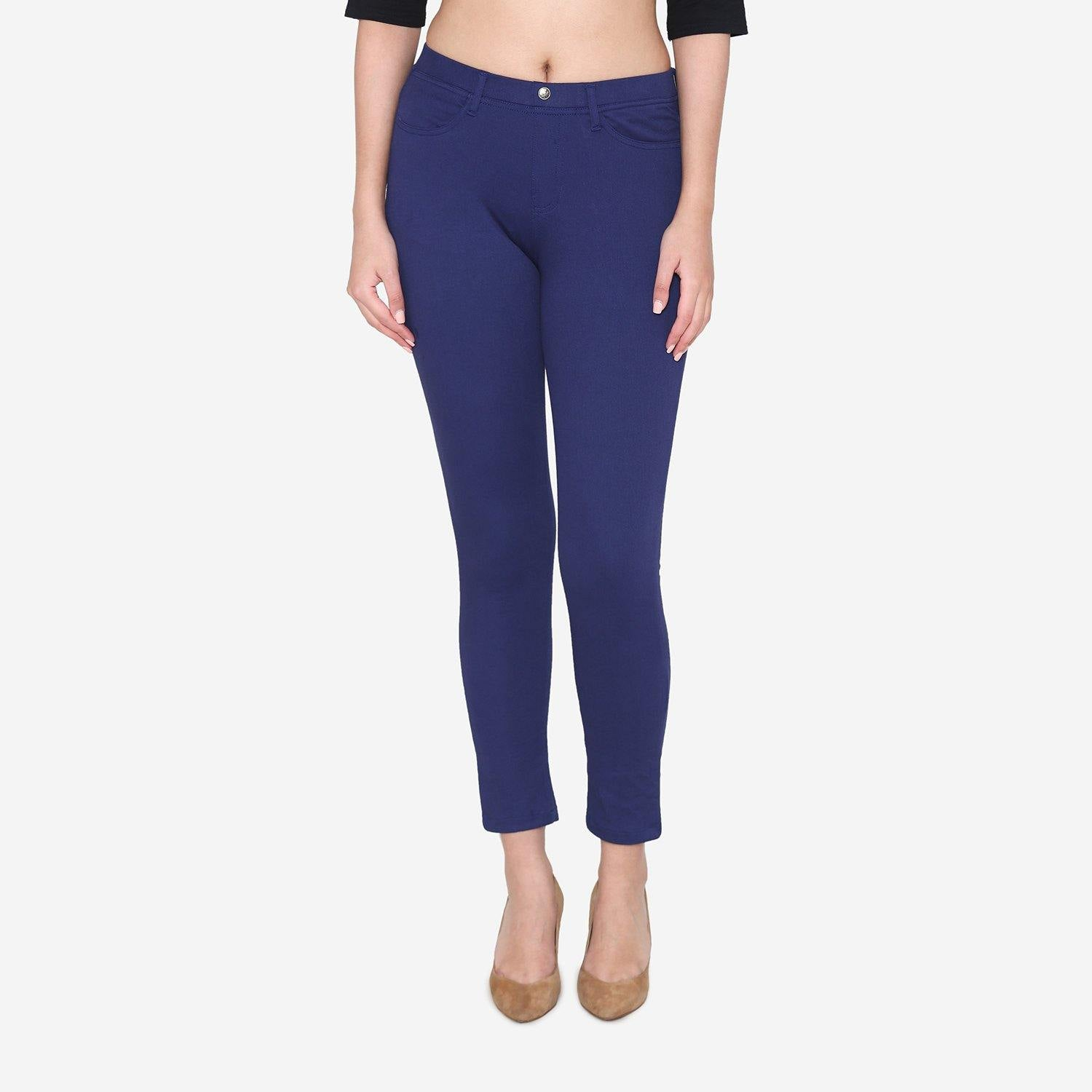 Vami Women's  Cotton Stretchable Jeggings - Ink Blue