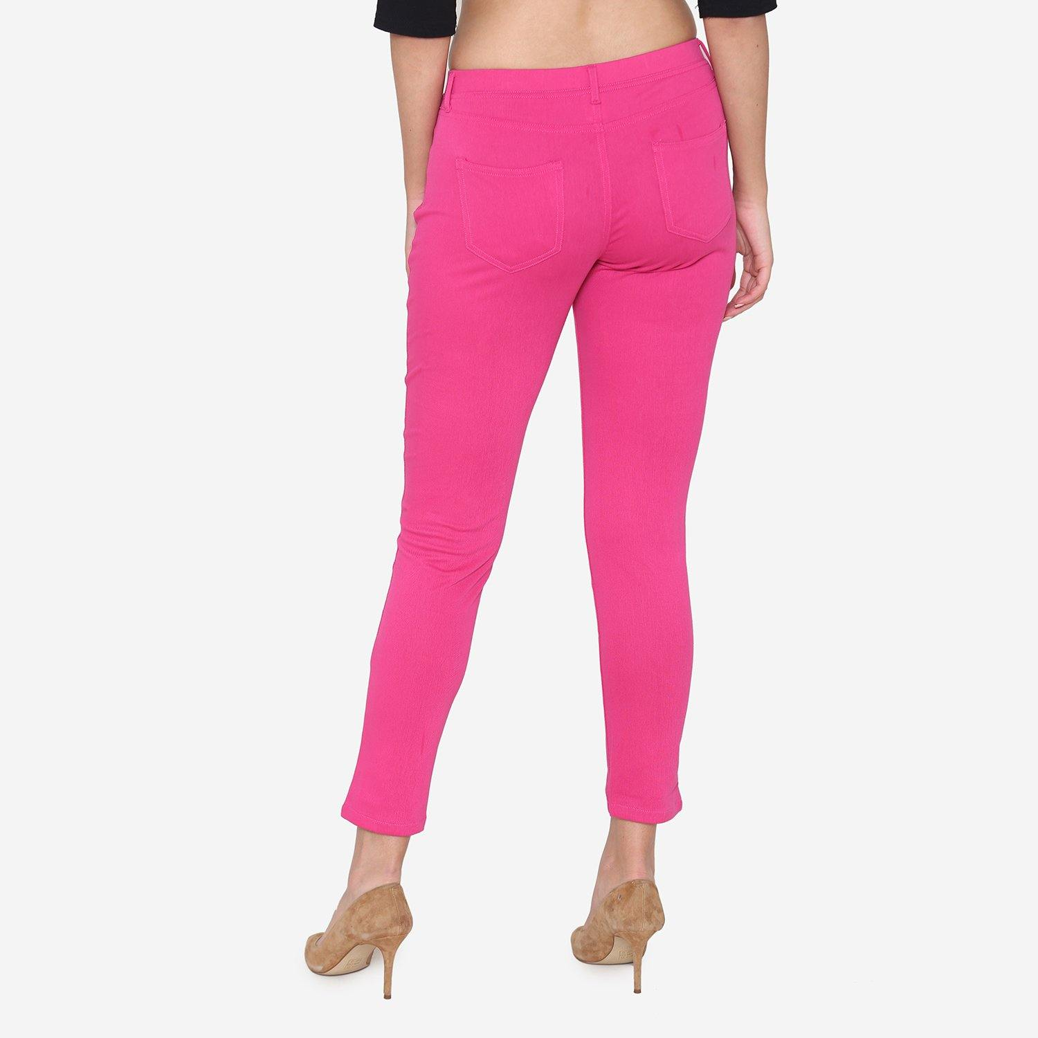 Vami Women's  Cotton Stretchable Jeggings - Magic Pink