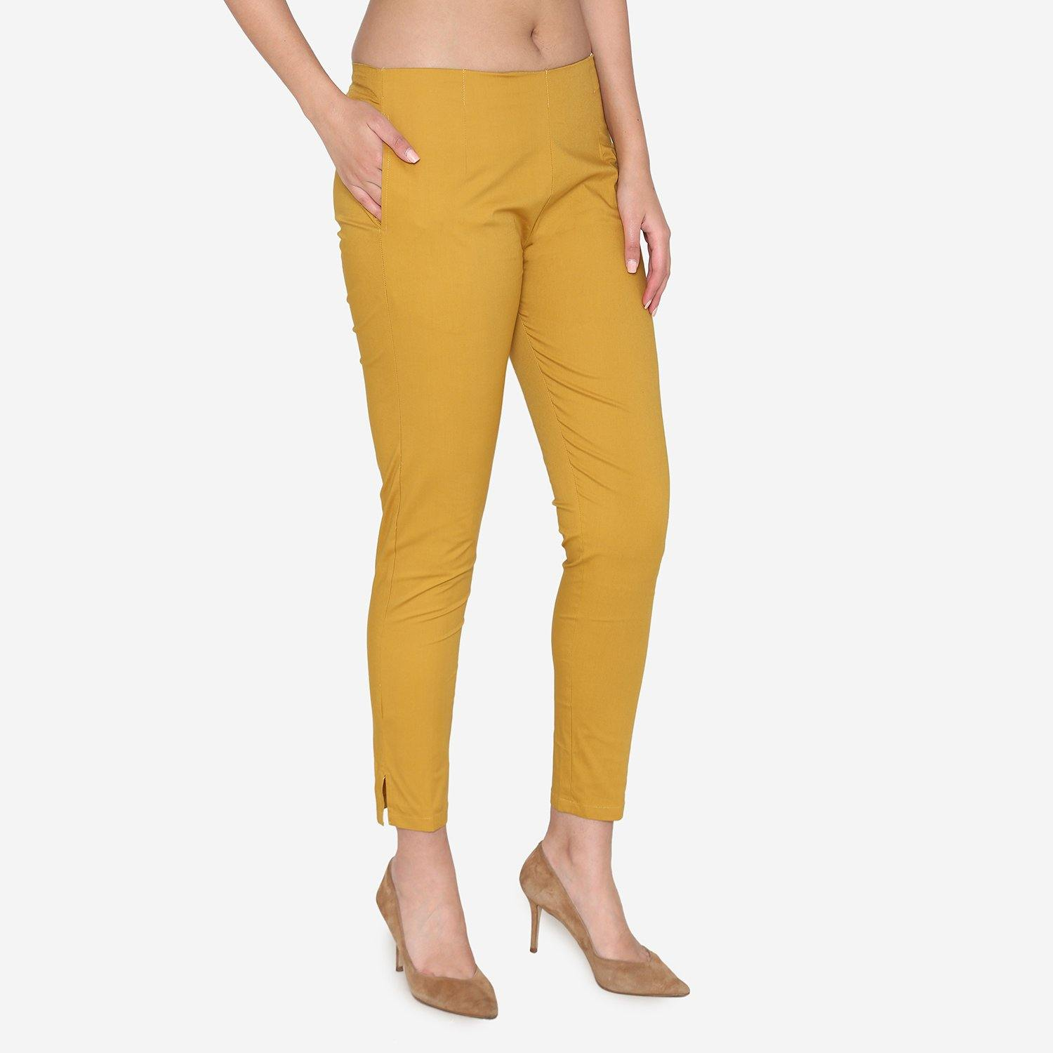 Vami Women's Cotton Formal Trousers- Golden